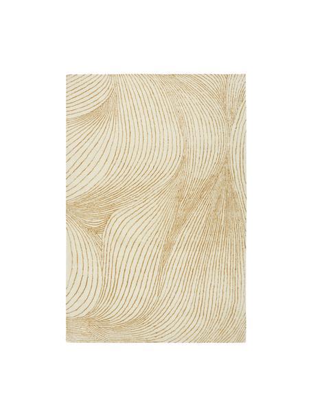 Großer handgewebter Wollteppich Waverly mit Wellenmuster, 100% Wolle  Bei Wollteppichen können sich in den ersten Wochen der Nutzung Fasern lösen, dies reduziert sich durch den täglichen Gebrauch und die Flusenbildung geht zurück., Beige, Weiß, B 160 x L 230 cm (Größe M)