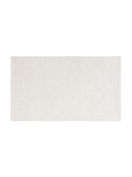 Tappeto bagno bianco crema con motivo floreale Kaya, 100% cotone, Bianco crema, Larg. 50 x Lung. 80 cm