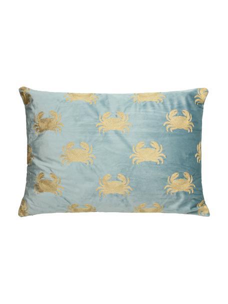 Geborduurd fluwelen kussen Crab, met vulling, 100% fluweel, Blauw, goudkleurig, 40 x 60 cm
