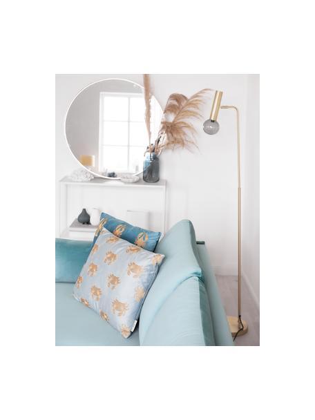 Haftowana poduszka z aksamitu z wypełnieniem Crab, 100% aksamit, Niebieski, odcienie złotego, S 40 x D 60 cm
