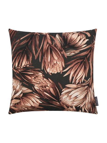 Kissenhülle Protea mit Blumenmuster, 85% Baumwolle, 15% Leinen, Anthrazit, Brauntöne, 50 x 50 cm