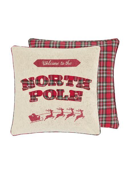 Bestickte Wendekissenhülle North Pole mit karierter Rückseite, 100% Baumwolle, Beige, 45 x 45 cm