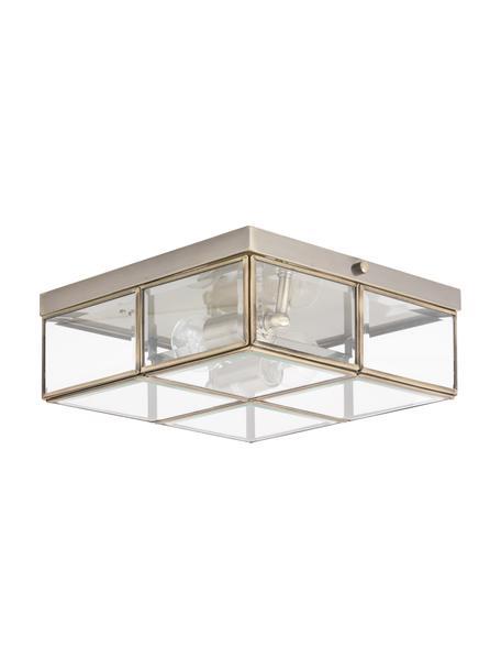 Kleine plafondlamp Ben in messing, Lampenkap: glas, Messingkleurig, transparant, 26 x 10 cm