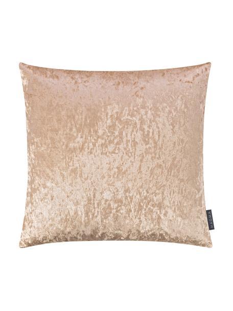 Fluwelen kussenhoes Shanta met glinsterende vintage patroon, 100% polyester fluweel, Champagnekleurig, 50 x 50 cm