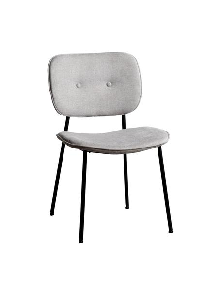 Silla tapizada Oprah, Tapizado: 100%poliéster, Patas: metal recubierto, Gris claro, negro, An 56 x F 52 cm