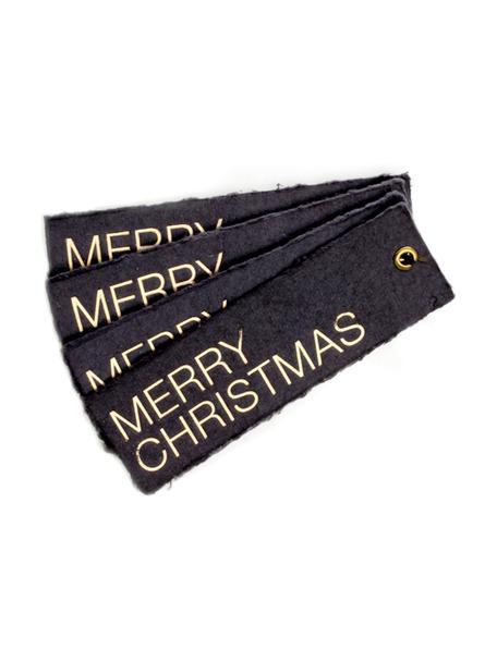Geschenklabel Christmas, 4 stuks, Zilverkleurig, donkergrijs, 4 x 12 cm