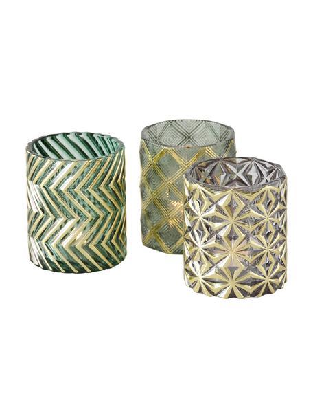 Waxinelichthoudersset Shaggy, 3-delig, Gelakt glas, Donkergroen, Ø 8 cm