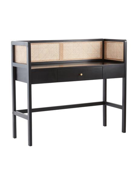 Schreibtisch Kimpton mit Wiener Geflecht, Wiener Geflecht: Rattan, Schwarz, B 116 x T 42 cm