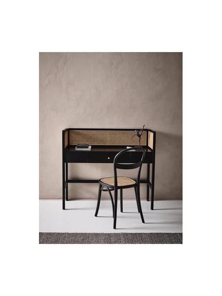 Scrivania con intreccio viennese Kimpton, Intreccio viennese: rattan, Nero, Larg. 116 x Alt. 42 cm