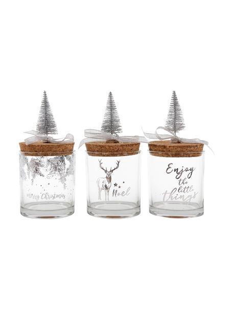 Set 3 contenitori Noel, alt. 10 cm, Contenitori: vetro, Coperchio: sughero, Trasparente, multicolore, Ø 9 x Alt. 10 cm