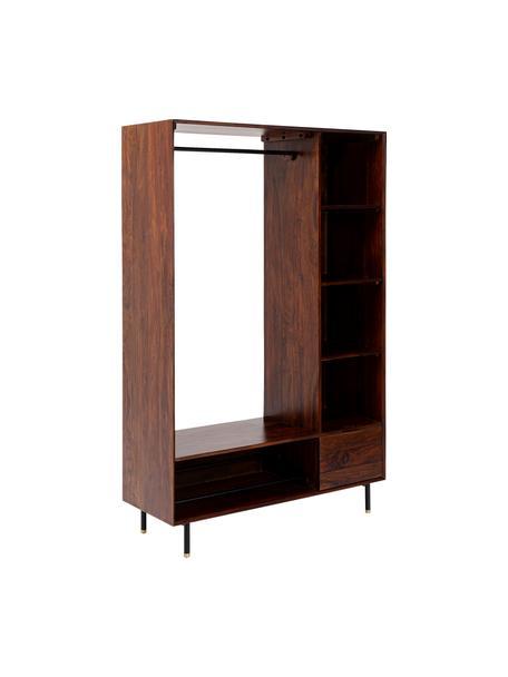 Openstaande kledingkast Ravello van massief hout, Frame: sheesham hout, massief, g, Poten: gepoedercoat metaal, Bruin, 120 x 185 cm