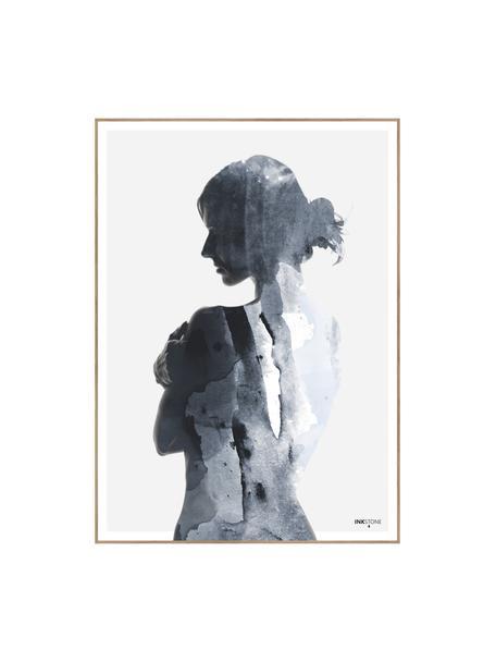 Ingelijste digitale print Woman in Blue, Afbeelding: digitale druk op papier (, Lijst: HDF, Blauwtinten, wit, 50 x 70 cm