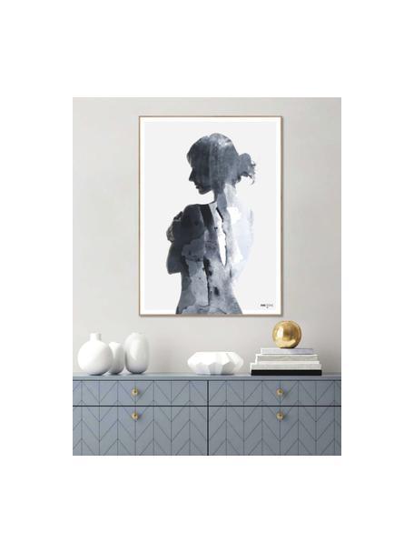 Impresión digital enmarcadaWoman in Blue, Fotografía: impresión digital sobre p, Parte trasera: tablero de fibras de dens, Tonos azules, blanco, An 50 x Al 70 cm