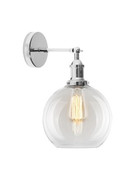 Grote wandlamp New York Loft No.2, Lampenkap: glas, Frame: verchroomd metaal, Chroomkleurig, transparant, 20 x 35 cm