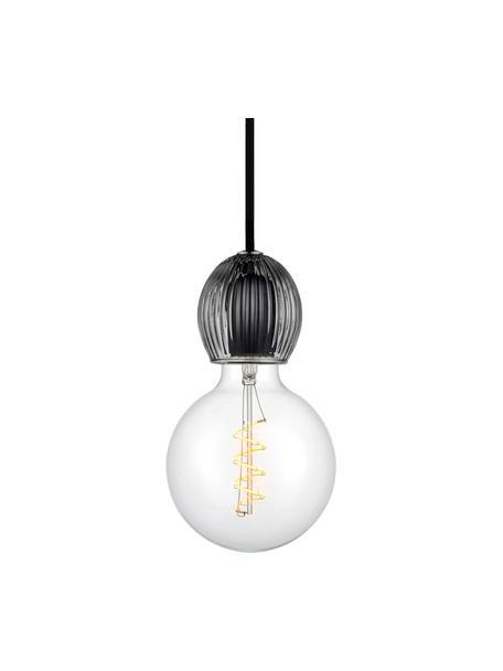 Kleine hanglamp Chris van glas, Fitting: glas, Baldakijn: kunststof, Grijs, transparant, Ø 8 x H 9 cm