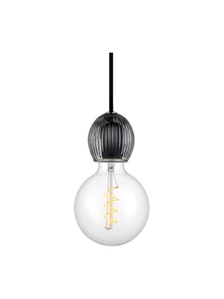 Lampada a sospensione in vetro Cris, Baldacchino: materiale sintetico, Grigio trasparente, Ø 8 x Alt. 9 cm