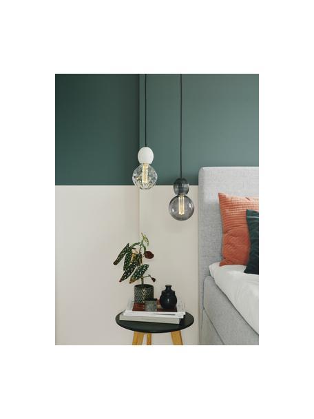 Lámpara de techo pequeña de vidrio CPH, Anclaje: plástico, Cable: cubierto en tela, Gris transparente, Ø 8 x Al 9 cm