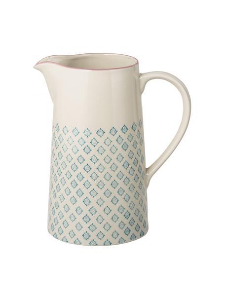 Handbeschilderde waterkan Patrizia met patroon, 2 L, Keramiek, Petrolkleurig, crèmekleurig, paars, 2 L