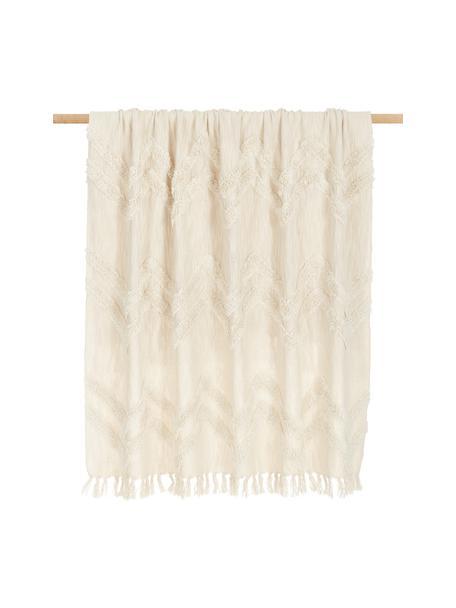 Boho katoenen plaid Akesha met getuft zigzagpatroon, 100% katoen, Ecru, 130 x 170 cm
