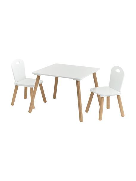 Komplet stołu z krzesłami dla dzieci Scandi, 3 elem., Nogi: drewno sosnowe z powłoką , Biały, beżowy, Komplet z różnymi rozmiarami