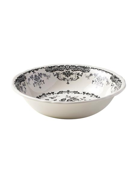 Insalatiera con motivo floreale Rose Ø 24 cm, Ceramica, Bianco, nero, Ø 24 x Alt. 8 cm