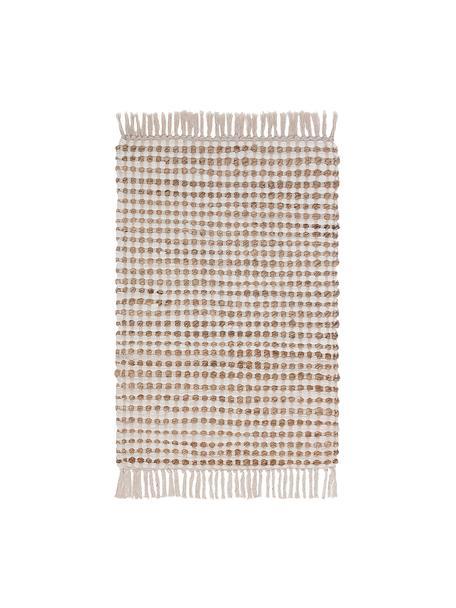 Alfombra de algodón y yute Fiesta, 55%algodón, 45%yute, Blanco, beige, An 60 x L 90 cm (Tamaño XXS)