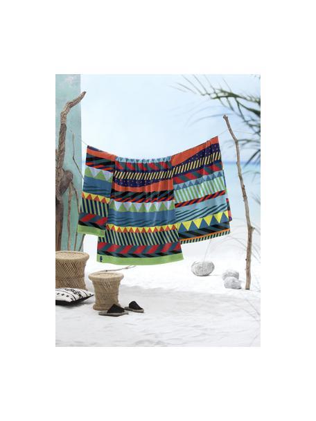 Strandlaken met patroon Capetown, 100% Egyptisch katoen Middelzware stofkwaliteit, 420 g/m², Multicolour, 100 x 180 cm