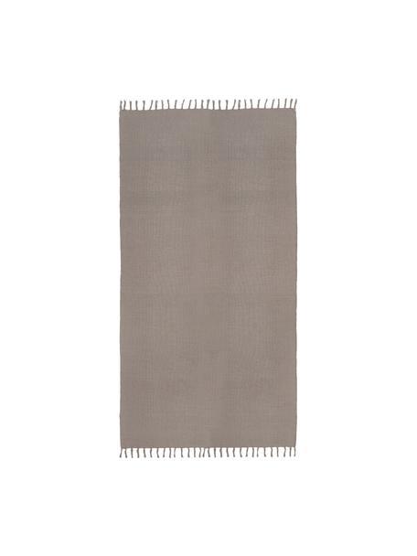Dünner Baumwollteppich Agneta in Grau, handgewebt, 100% Baumwolle, Grau, B 70 x L 140 cm (Grösse XS)
