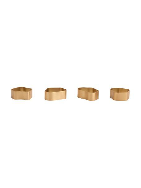 Serviettenringe Capri aus Messing, 4er-Set, Messing, gebürstet, Goldfarben, Set mit verschiedenen Größen