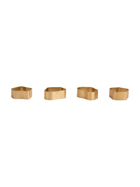 Servilleteros de latón Capri, 4uds., Latón cepillado, Dorado, Set de diferentes tamaños
