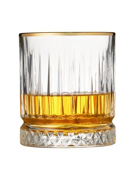 Vasos de whisky con relieve Firenz, 4uds., Vidrio, Transparente, dorado, Ø 9 x Al 10 cm