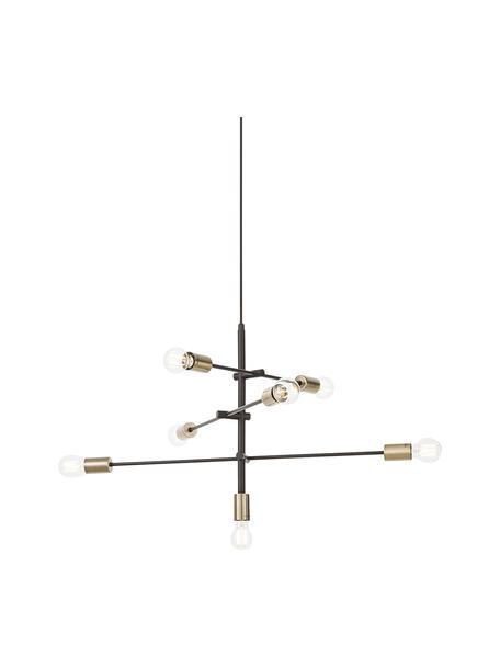 Lámpara de techo Visby, Estructura: metal con pintura en polv, Anclaje: metal con pintura en polv, Cable: forro textil, Negro, Ø 84 cm