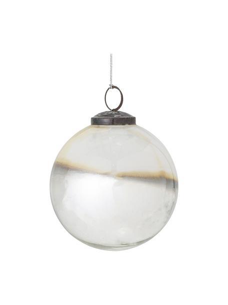 Weihnachtskugeln Mouna Ø 10 cm, 2 Stück, Perlweiß, Grau, Beige, Ø 10 cm