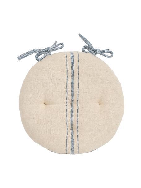 Okrągła poduszka na krzesło Capri, 100% bawełna, Biały, niebieski, Ø 40 x W 4 cm