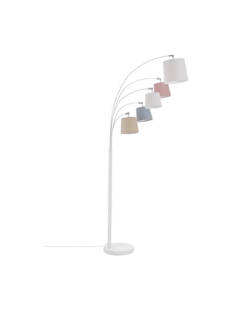 Skandi-Bogenlampe Foggy mit Stoffschirmen, Lampenschirm: Polyester, Baumwolle, Lampenfuß: Metall, lackiert, Weiß, Grau, Rosa, 80 x 200 cm