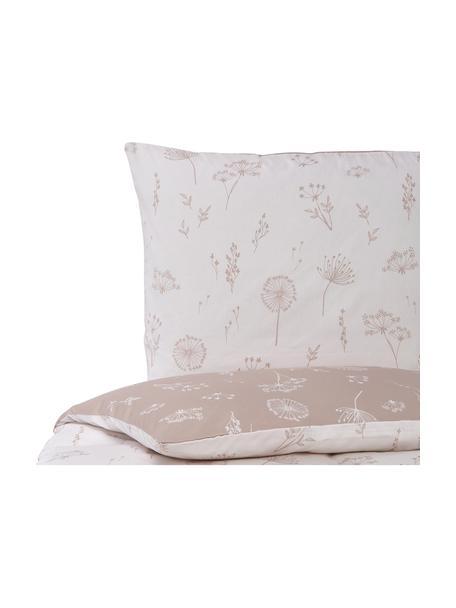 Mako-Satin-Wendebettwäsche Leone in Rosa mit Pusteblumen, Webart: Mako-Satin Fadendichte 20, Puderrosa, Hellrosa, 135 x 200 cm + 1 Kissen 80 x 80 cm