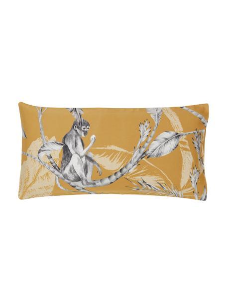 Poszewka na poduszkę z satyny bawełnianej Monkey, 2 szt., Żółty, S 40 x D 80 cm