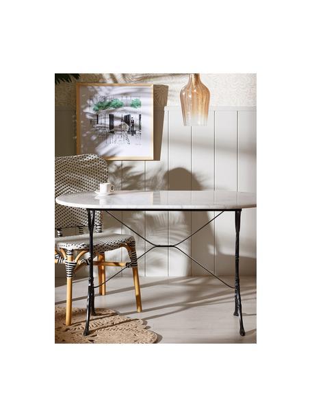 Mesa de comedor de mármol Mummi, Tablero: mármol, Patas: metal, Blanco, negro, An 120 x F 60 cm