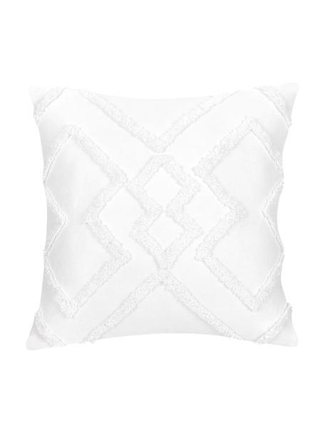 Kissenhülle Faith in Weiß mit getuftetem Rautenmuster, 100% Baumwolle, Weiß, 50 x 50 cm