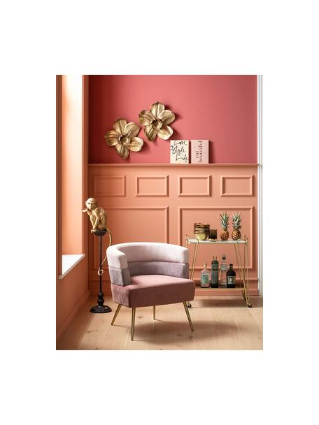 Sillón de terciopelo diseño retro Sandwich, Tapizado: terciopelo de poliéster, Patas: metal recubierto, Terciopelo rosa, An 65 x F 64 cm