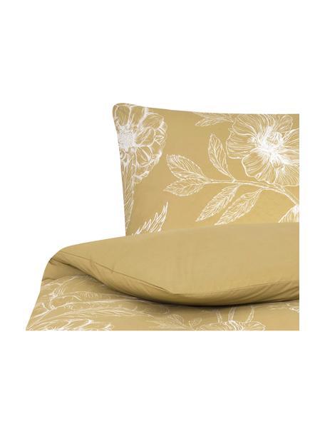 Pościel z perkalu Keno, Musztardowy, biały, 155 x 220 cm + 1 poduszka 80 x 80 cm