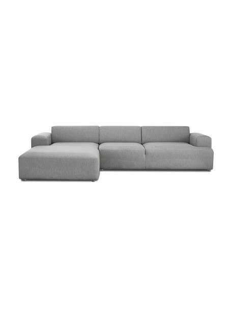 Hoekbank Melva (4-zits) in grijs, Bekleding: 100% polyester, Frame: massief grenenhout, FSC-g, Poten: kunststof, Geweven stof grijs, B 319 x D 196 cm