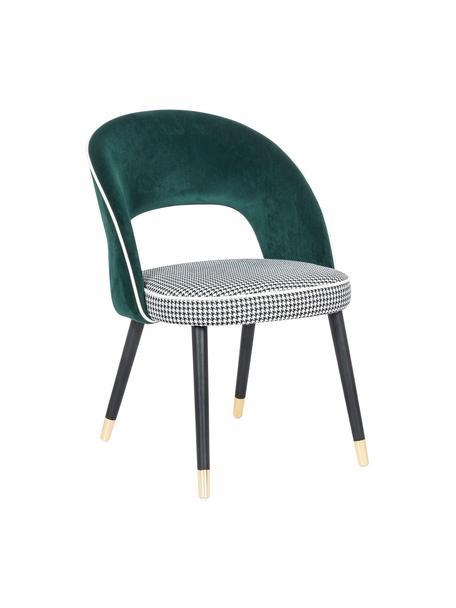 Krzesło tapicerowane z aksamitu London, Nogi: drewno brzozowe, Tapicerka: 100% aksamit poliestrowy, Zielony, czarny, biały, S 58 x G 60 cm