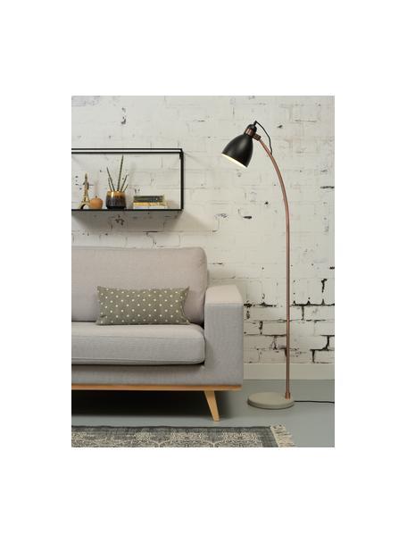 Lámpara de lectura con base de cemento Denver, Pantalla: hierro recubierto, Estructura: hierro, cobre, Cable: cubierto en tela, Negro, cobre, cemento, An 37 x Al 145 cm