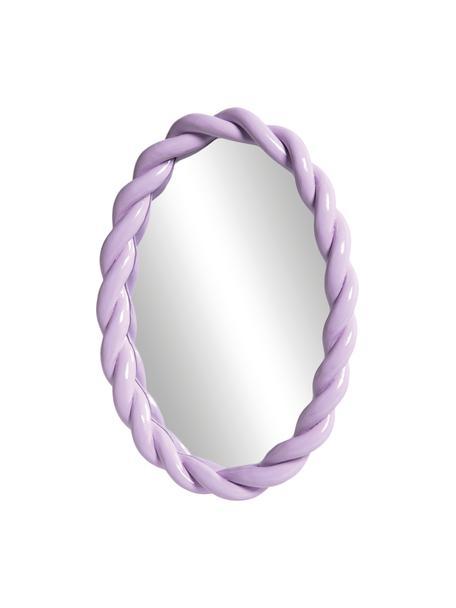 Specchio da parete con cornice in plastica viola Braid, Cornice: poliresina, Superficie dello specchio: lastra di vetro, Viola pastello, Larg. 26 x Alt. 35 cm