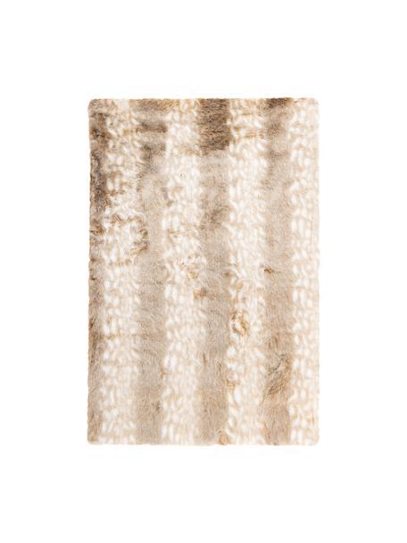Flauschiger Hochflor-Teppich Rumba in Felloptik, Flor: 80% Acryl, 20% Polyester, Beige, Cremeweiß, B 120 x L 170 cm (Größe S)