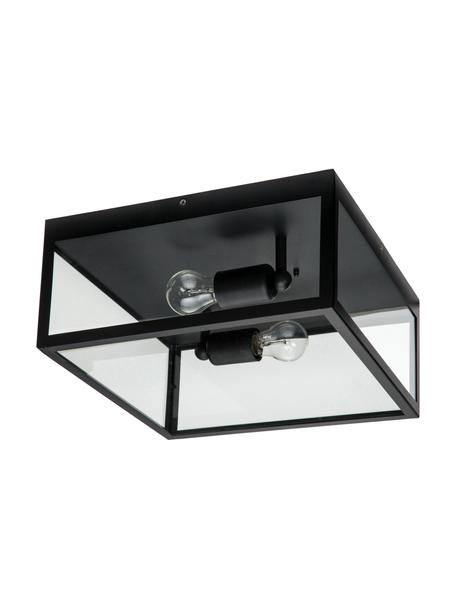 Deckenleuchte Aberdeen im Industrial-Style, Lampenschirm: Glas, Schwarz, Transparent, 36 x 16 cm