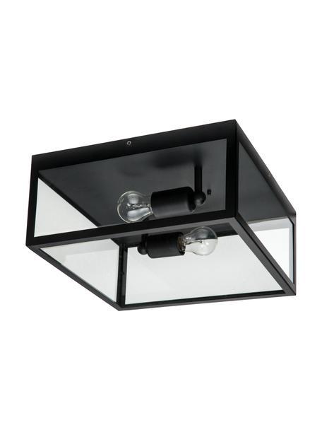 Plafón Aberdeen, estilo industrial, Estructura: acero pintado, Casquillo: acero pintado, Pantalla: vidrio, Negro, transparente, An 36 x Al 16 cm
