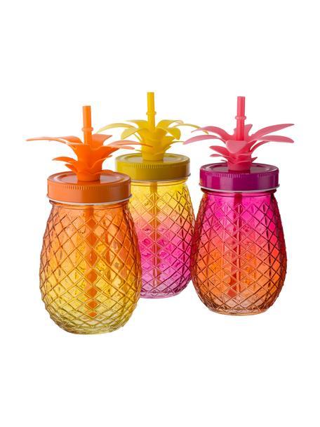 Drinkglazen Pineapples met deksel en rietje, 3-delig, Drinkglas: glas, Deksel: metaal, Rietje: kunststof, Roze, oranje, geel, Ø 9 x H 14 cm
