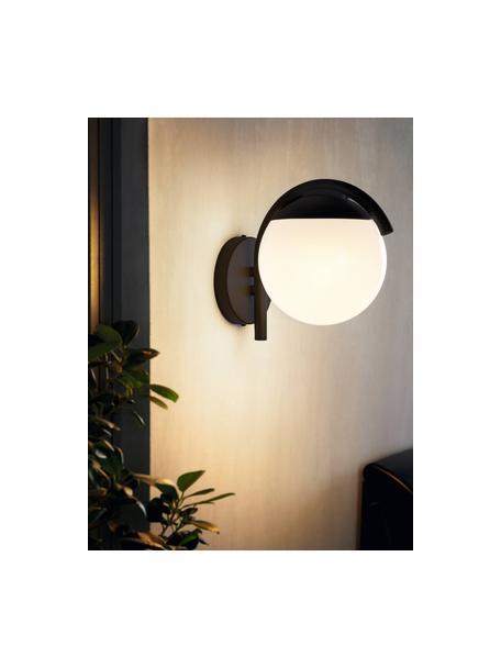 Outdoor wandlamp Prata, Lampenkap: kunststof, Zwart, wit, 20 x 26 cm
